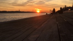 Teenager Friends Enjoying Sunset at Tagus River Stock Footage