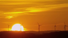 Windpark in sunset Stock Footage