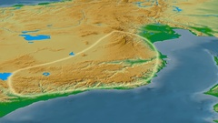 Revolution around Taurus mountain range - glowed. Colored physical map Stock Footage