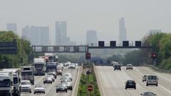 Freeway - Autobahn to the City of Frankfurt Stock Footage