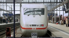 Express Train ICE leaving the Frankfurt station Stock Footage