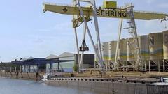Crane in Frankfurt at River Main Stock Footage