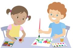 Small children draw paint and mold from plasticine. Vector Stock Illustration