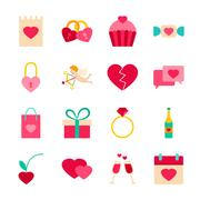 Happy Valentines Day Objects Stock Illustration