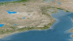 Revolution around Taurus mountain range - masks. Satellite imagery Stock Footage