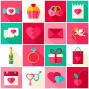Happy Valentines Day Colorful Icons Stock Illustration