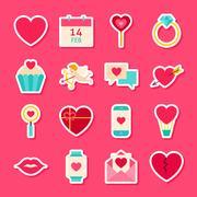 Valentines Day Love Stickers Stock Illustration