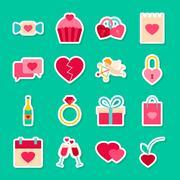 Happy Valentines Day Stickers Stock Illustration