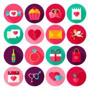Happy Valentines Day Flat Icons Stock Illustration