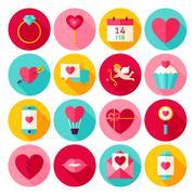 Valentines Day Love Flat Icons Stock Illustration