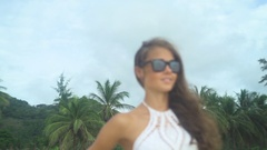 Beautiful Girl Portrait In Sea Glamour Style Stock Footage