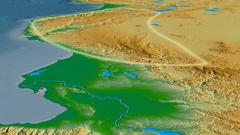 Glide over Taurus mountain range - glowed. Colored physical map Stock Footage