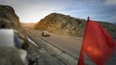Red Flag on Mountain Route Stock Footage