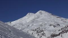 Mount Elbrus in the winter Stock Footage