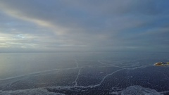 Aerial pano: Gulf of Finland and Construction of Lakhta Center Stock Footage