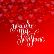 You are my sunshine handwritten lettering quote about love to va Stock Illustration