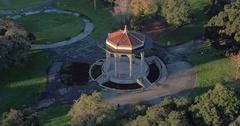 Aerial shot of Oakland City & lake merritt at sunrise Stock Footage
