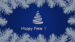Footage Happy New Year with fir branches and snowflakes on the blue background Stock Footage