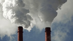 Pipes emit harmful emissions polluting the environment Stock Footage