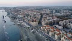 A city built on the coast near the sea. Ostia, Rome, Italy, Aerial video. Stock Footage