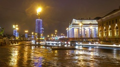 Winter night city. St.Petersburg. Russia. timelapse Stock Footage