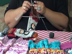 Women knit with wool winter socks Stock Footage
