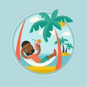Man chilling in hammock vector illustration Stock Illustration