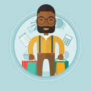 Happy man with shopping bags vector illustration Piirros
