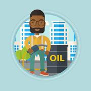 Man with oil barrel and gas pump nozzle Piirros