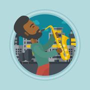 Musician playing saxophone vector illustration Stock Illustration