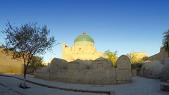 Pahlavon Mahmud Mausoleum, decorated by islamic patterns, made of glazed tiles Stock Footage