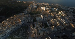 Aerial shot over buildings in Malta Stock Footage