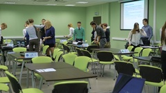 Students packing their bags and leaving the classrom. Team buiding activities Stock Footage