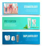 Dental Implants 3 Horizontal Banners Set Stock Illustration