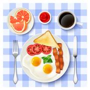 American Full Breakfast Top view Image Stock Illustration