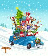 Cartoon Christmas Gift Card Stock Illustration
