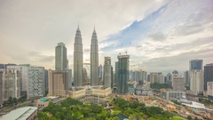 Cloudscape view of the Petronas Twin Towers, Kuala Lumpur City Stock Footage