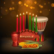 Kwanzaa Kinara Background Colorful Composition Poster Stock Illustration