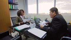 Businessman Boss Job Interview Reviewing Executive Woman Curriculum  Stock Footage