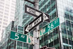 Fifth avenue and W 56 st crossroad in New York Stock Photos