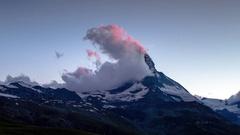Matterhorn alps switzerland mountains snow peaks ski timelapse sunset dusk Stock Footage