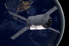 Cargo spacecraft - The Automated Transfer Vehicle over the planet Earth. Kuvituskuvat