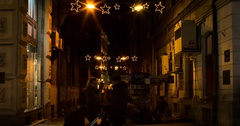 Street passage New Year decorations. Night, time lapse. 4k  Stock Footage