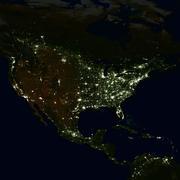 City lights on world map. North America. Stock Photos