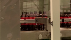 Bottles of Vyatka kvass in the pipeline are Packed in plastic bags Stock Footage