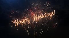 Happy Holidays greeting text with colored slow motion fireworks Stock Illustration