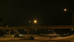 Dramatic view of road and bridge at night city. Downtown Stock Footage