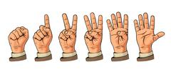 Set of gestures of hands counting from zero to five. Male Hand sign. Stock Illustration