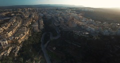 Aerial shot of a town in the Mediterranean Stock Footage