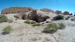 Fortress Kyzyl-kala in Karakalpakstan Biruni, the region of fortresses of Stock Footage